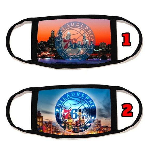 2 PACKS Philadelphia 76ers face mask face cover  r